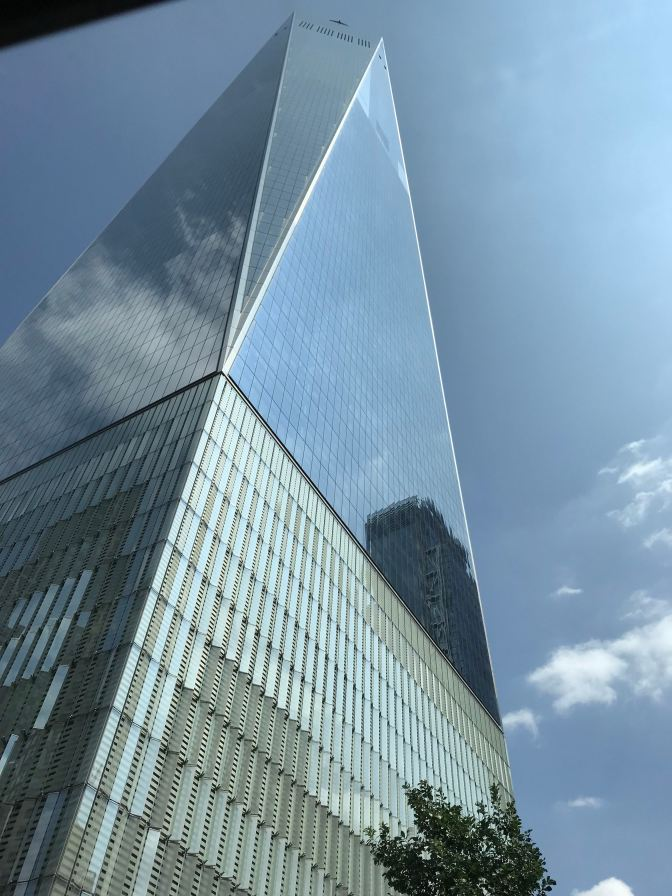 View of the Freedom Tower from street level.