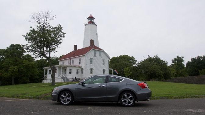 2012 Honda Accord in front of Sandy Hook Lighthouse