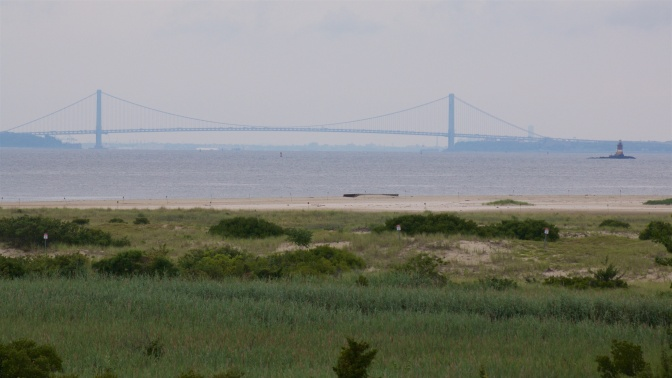 View of Verrazano Bridge across the New York Bay.