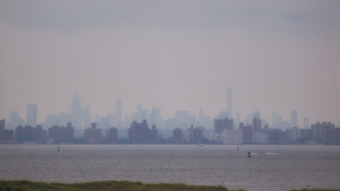 Skyline of New York across the New York Bay.