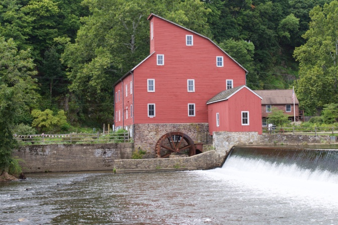 View of the Red Mill with the Raritan River in the foreground.