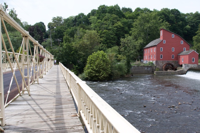 View of the Main Street Bridge from the pedestrian path on the side of the bridge. The Red Mill is visible to the right.