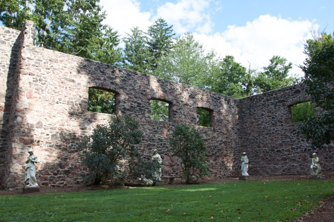 Sculpture Garden in the remains of the Hay Barn.