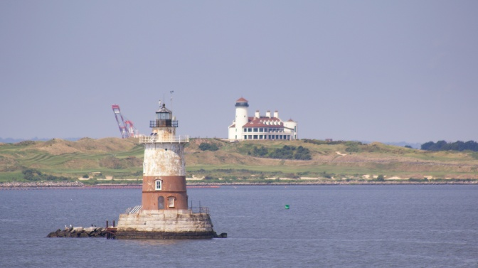 View of Robbins Reef Lighthouse in the New York Harbor.