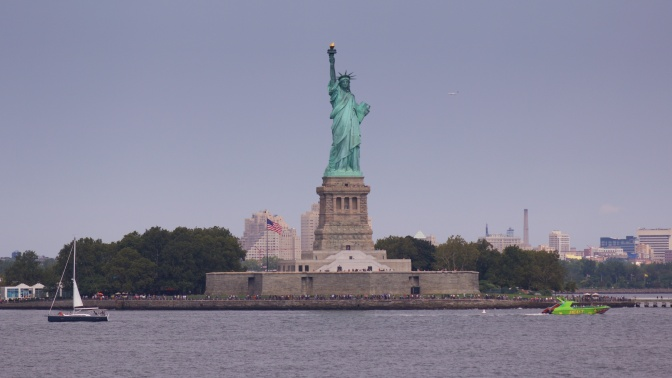 The Statue of Liberty in New York Harbor.