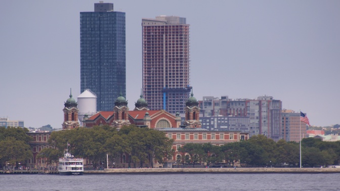 View of Ellis Island from across New York Harbor.