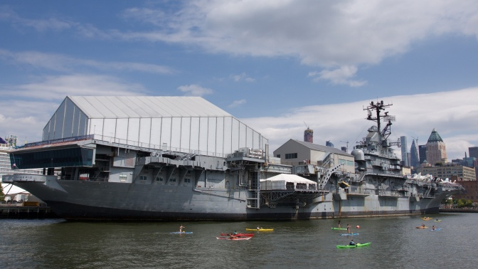 Stern view of the USS Intrepid.