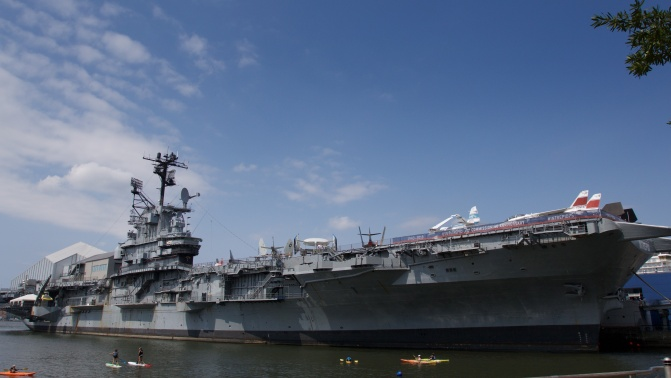 View of the USS Intrepid from the starboard side.