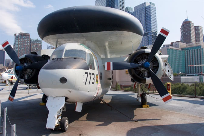 Grumman E-1 Tracer on carrier deck.