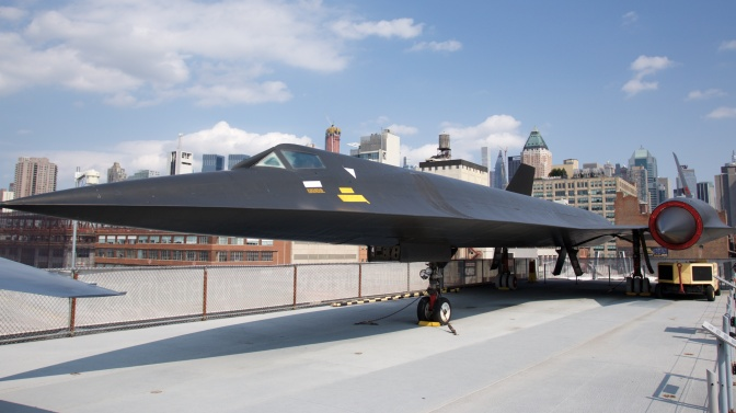 Lockheed A-12 parked on carrier deck.