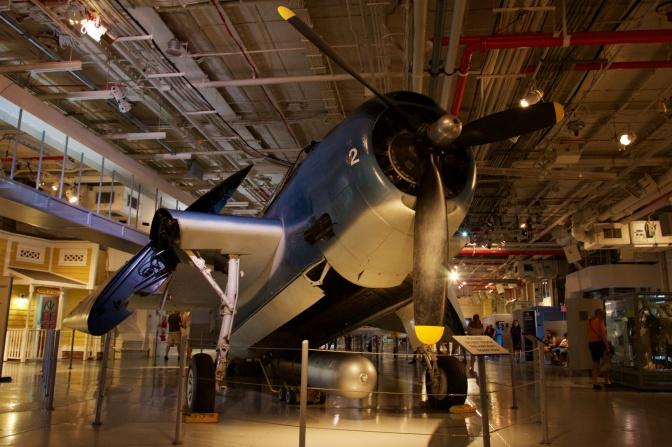 Grumman TBM Avenger on hangar deck.