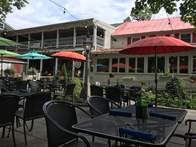 View of the courtyard outdoor patio of the restaurant.