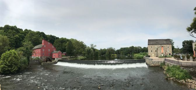Panorama of the Raritan River, with the Red Mill on the left and the Stone Mill on the right.
