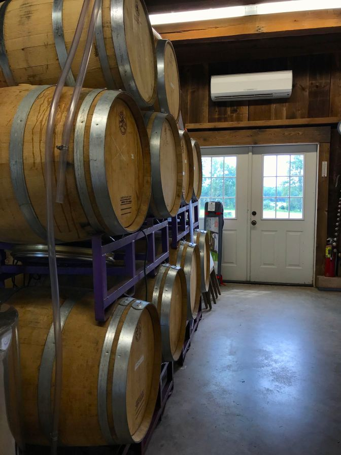 Casks of wine in a room in a barn. Doors look out upon the vineyard in the background.