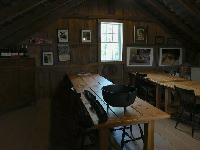 Tasting room on second floor of barn.