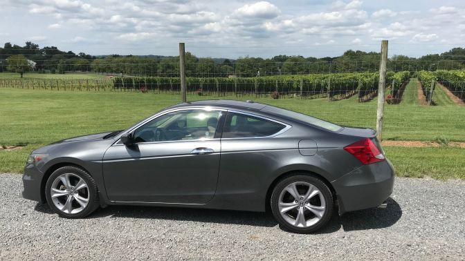 2012 Honda Accord in front of vineyard.