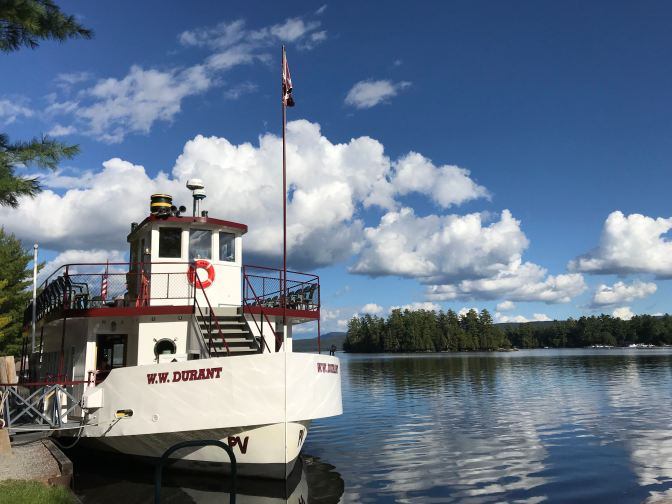WW Durant river cruise ship docked along Raquette Lake.