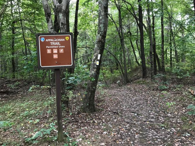 Red sign that reads APPALACHIAN TRAIL.