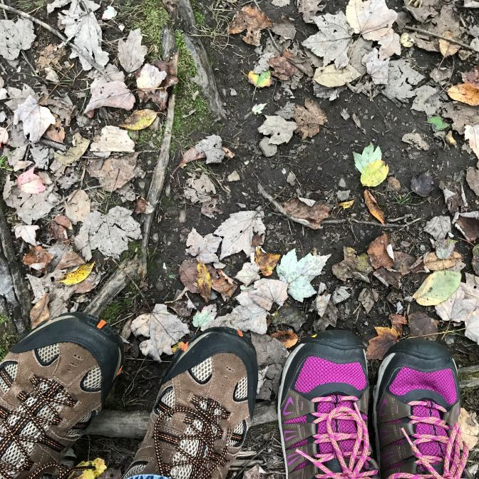 Two pairs of hiking shoes in the bottom of the image, standing on leaf-covered ground.