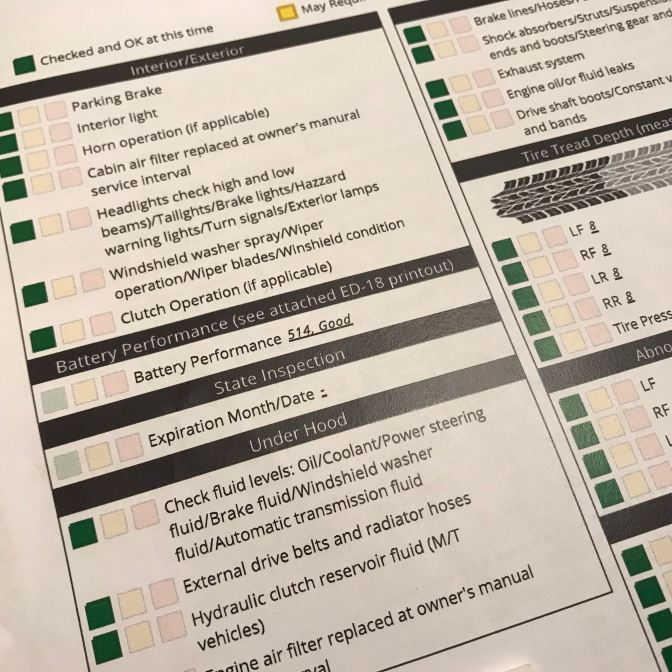 Inspection sheet from dealership for 2012 Honda Accord. All inspection items are labeled green for Checked and OK at this time.