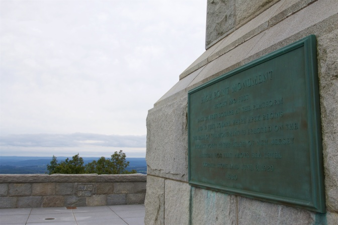 Plaque at the base of High Point Monument.