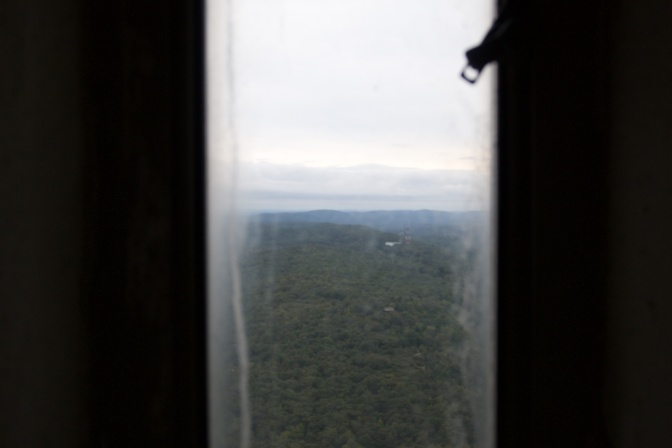 View of mountains through a window in the tower.