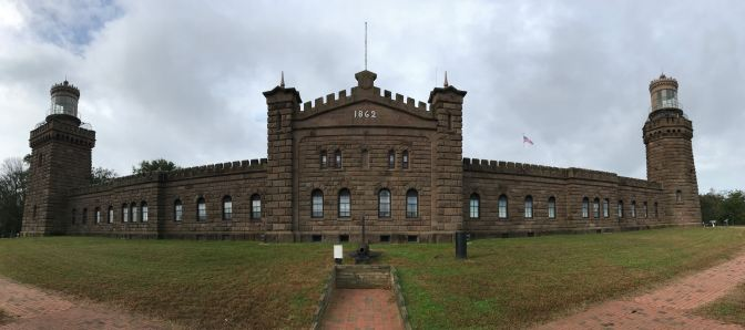 Panorama of exterior of Navesink Twins Lighthouse.