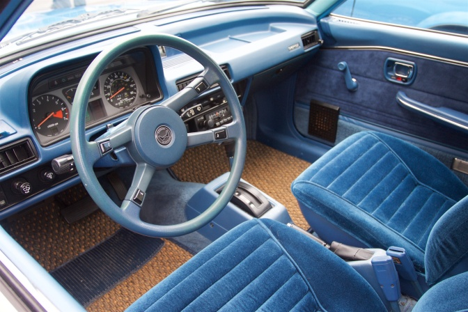 Interior of 1978 Honda Accord, in blue.