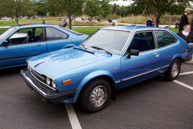 1978 Honda Accord hatchback in blue.
