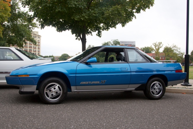 Subaru XT coupe, in blue.