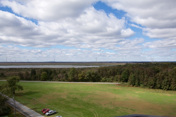View from the top of Finns Point Rear Range. Trees and marshland are in the distance.