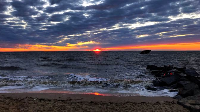 Sunset at Sunset Beach in Cape May, New Jersey.