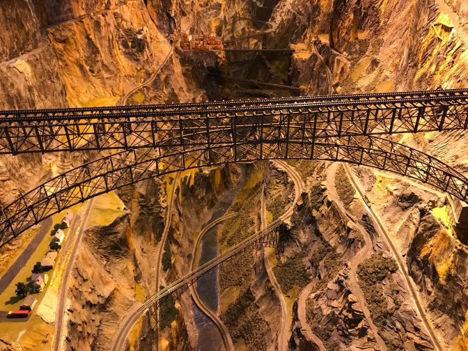 Steel trestle bridge over a large canyon.
