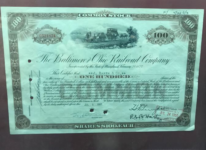 Share certificate for the Baltimore and Ohio Railroad Company.