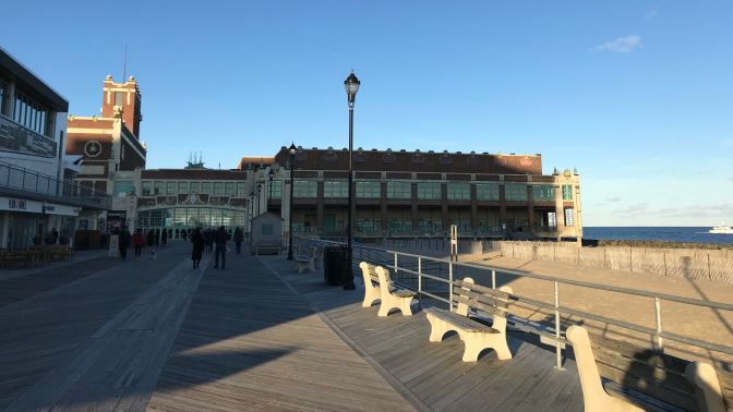 Asbury Park boardwalk and Convention Hall.