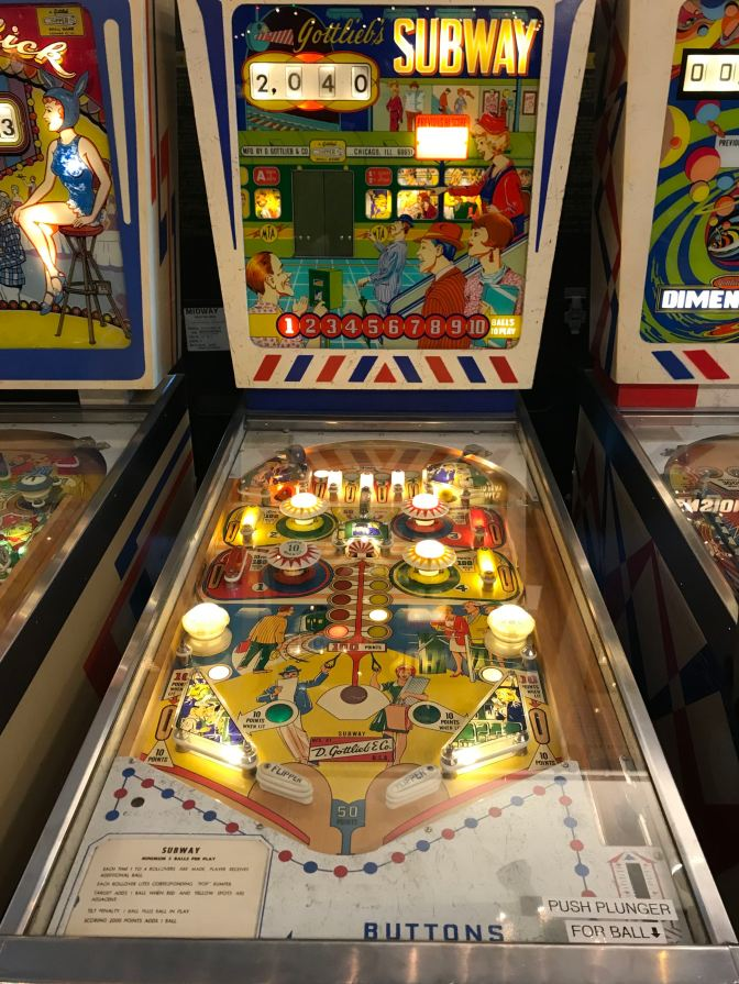 Gottlieb Subway pinball game from 1966.