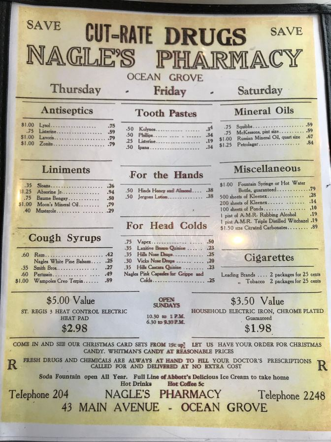 Rear of menu that lists Nagle's Pharmacy information, including prices for Antiseptics, tooth pastes, mineral oils, liniments, for the hands, miscellaneous, cough syrups, for head colds, cigarettes, along with delivery and payment information.