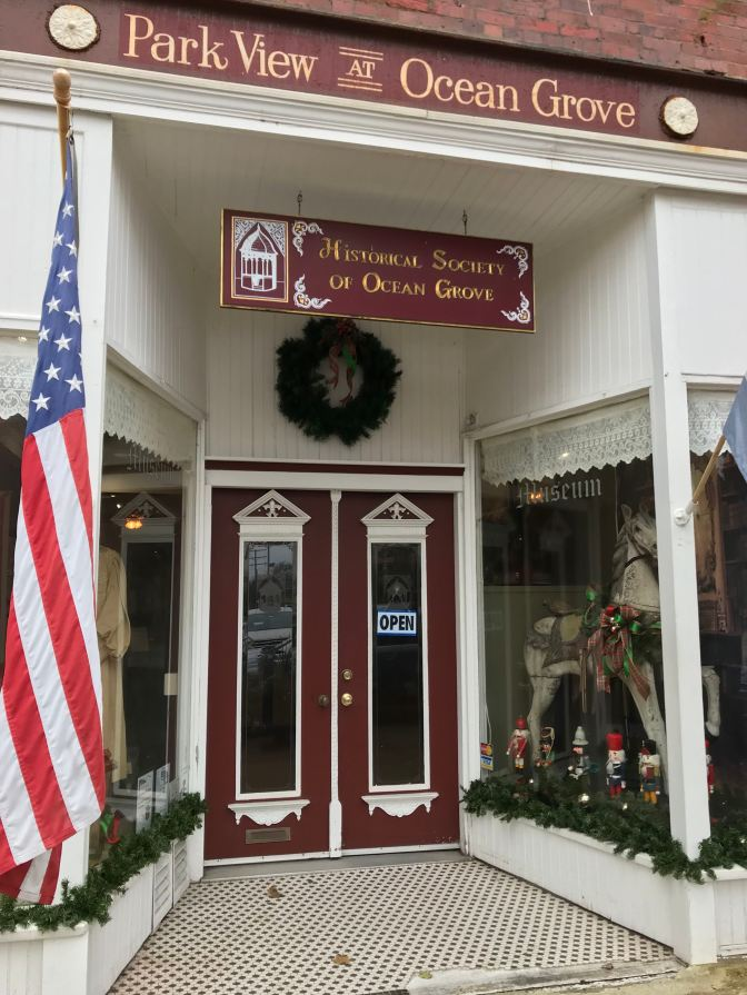 Exterior of Historical Society of Ocean Grove. A sign says HISTORICAL SOCIETY OF OCEAN GROVE.