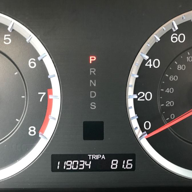 Honda Accord odometer reading TRIP A 119034 81.6