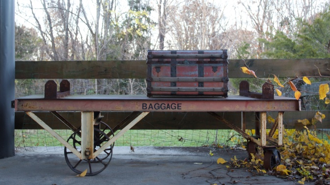Baggage cart at train station.