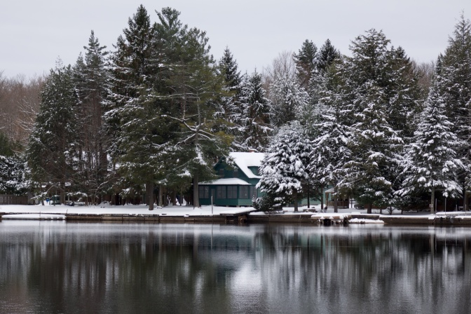 Cabin surrounded by snow-covered trees beside a lake.