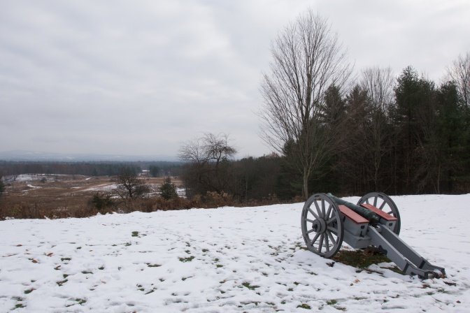 View of cannon overlooking battlefield.