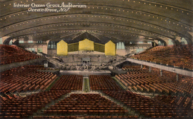 Postcard drawing of interior of Great Auditorium.