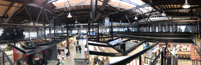 Panorama of interior of Keg and Case Market.