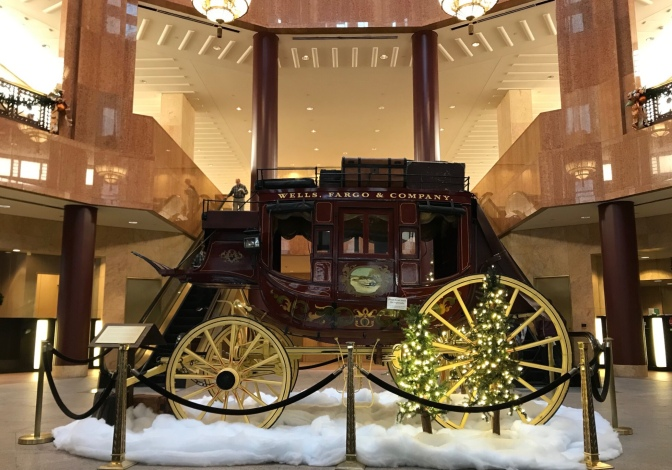 Wells Fargo & Company Stagecoach, in the lobby of the Wells Fargo Center.