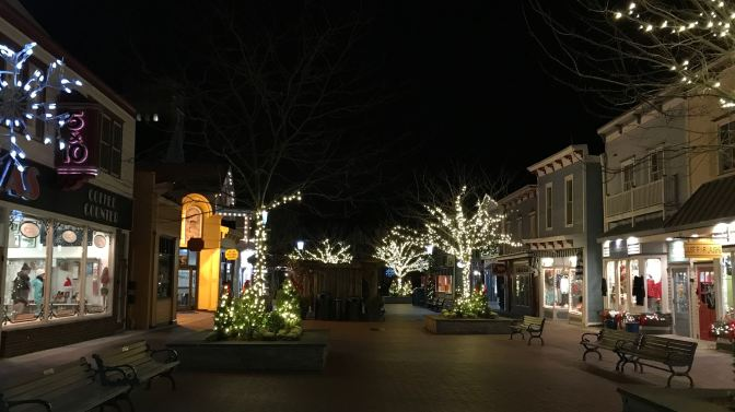 Downtown Cape May, with shops and trees still decorated with Christmas lights.