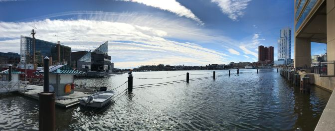 Panorama of Baltimore Inner Harbor. The aquarium is on the left.