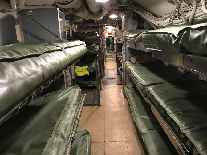 Bunk beds in crew's quarters.