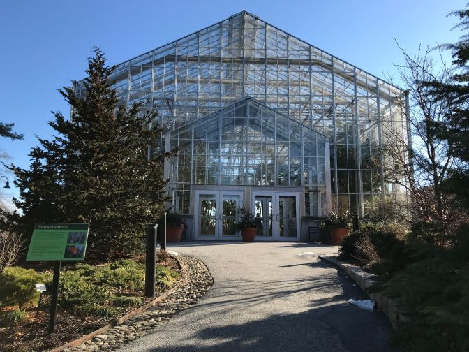 Glass and steel greenhouse at Roger Williams Conservatory.