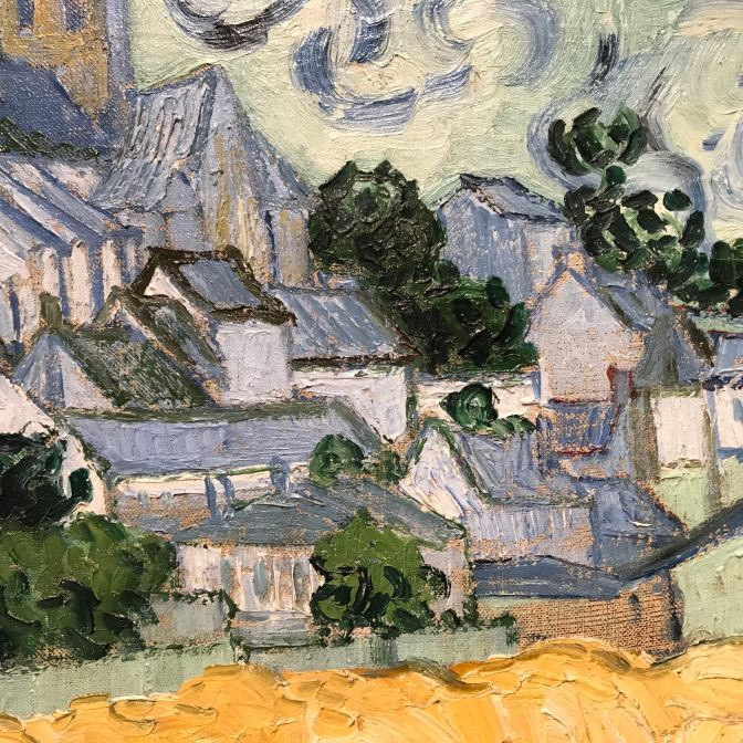 Close-up of Auvers-sur-Oise, with thick brush strokes evident in the painting.